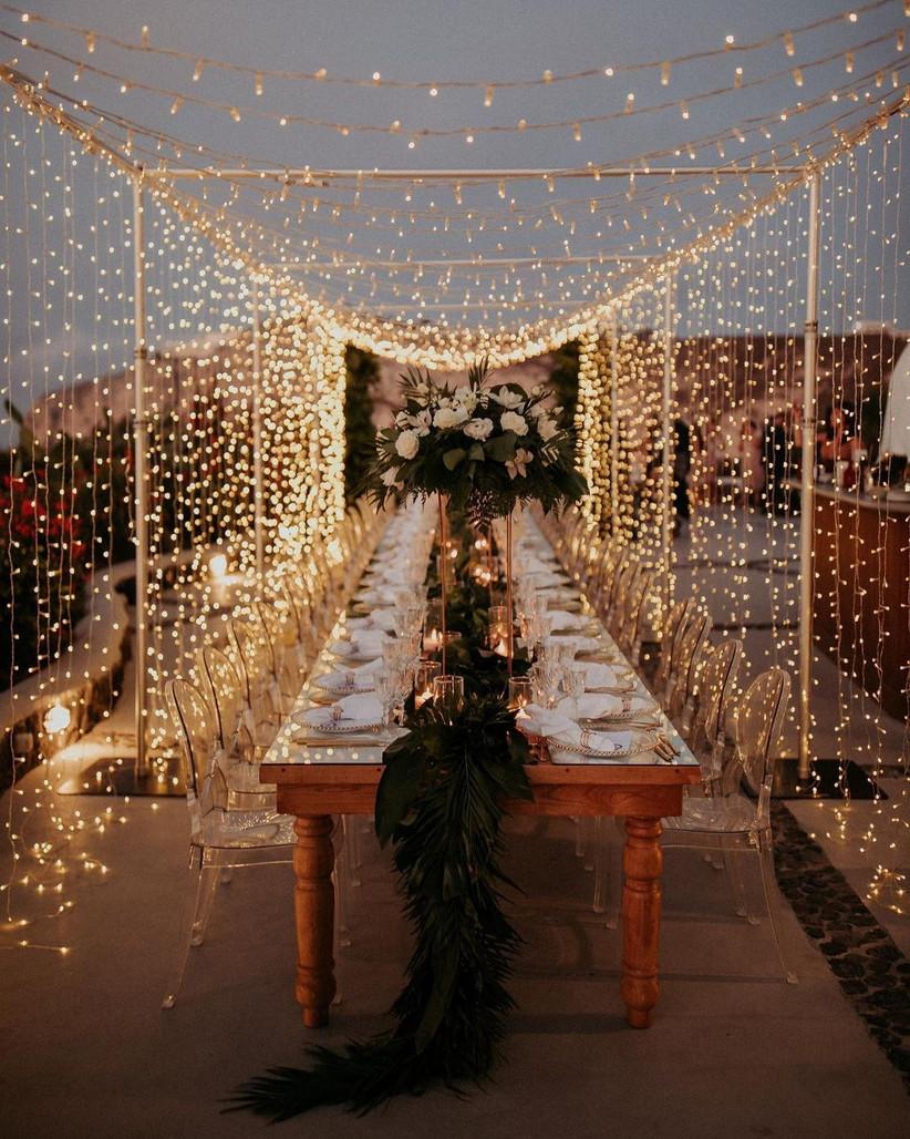 boda con cielo estrellado, decoración boda con luces