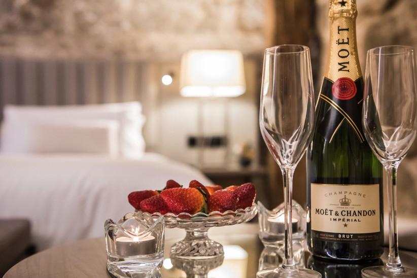 Cortesía de un hotel: champán y fresas