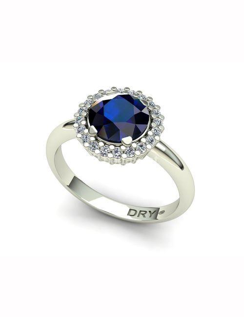 Anillo roseton zafiro diamantes oro blanco 171127-1, Pepe Dry