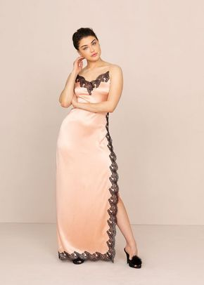 Amelea Long Slip Pink and Black, 546
