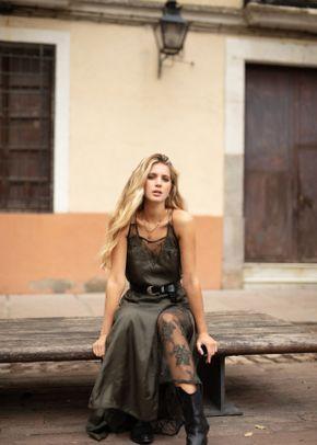 vestido seda kaki, 1309