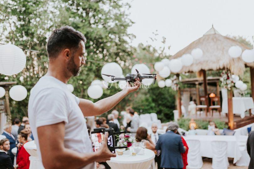Despegando el drone en Ibiza