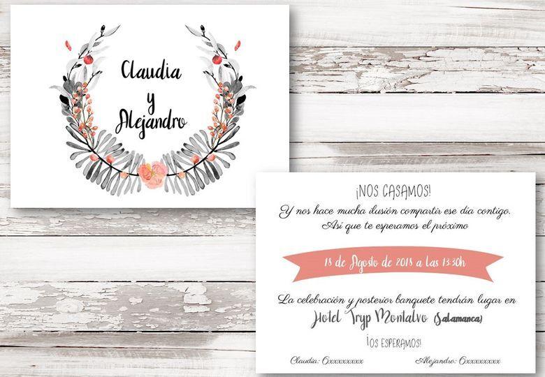 Invitación de boda. Tamaño A5