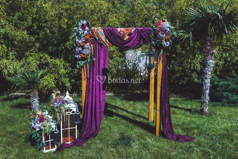 Altar colorido boda civil