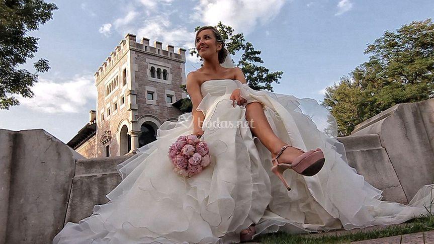 La novia posando
