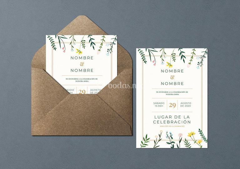 Invitación de papel con semillas