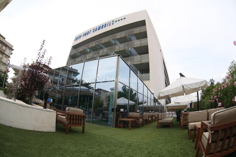 Vista hotel desde Jardín
