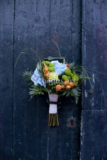 Ramo de novia de hortensias azules