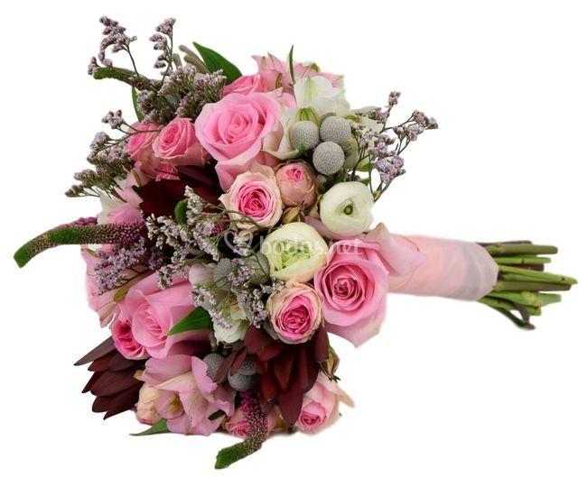 Ramo de novia tonos rosados