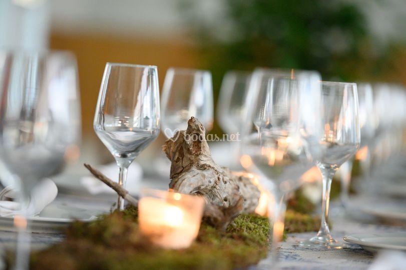 Centro de mesa con musgo