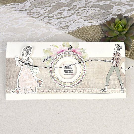 Invitación de boda con cuerda