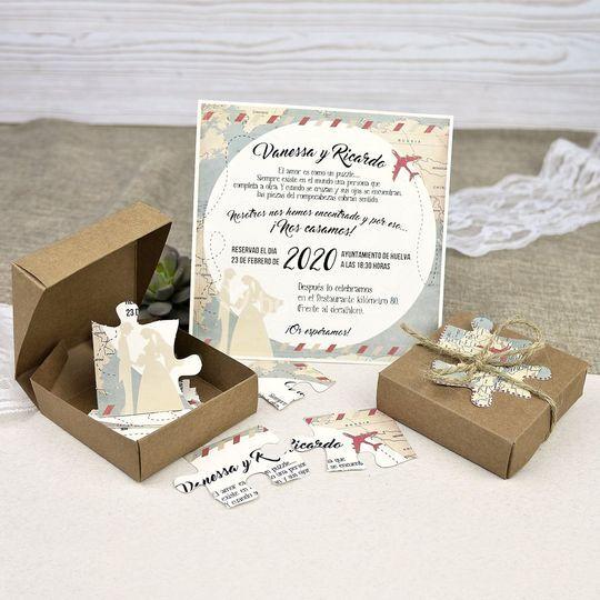 Invitación de boda en caja