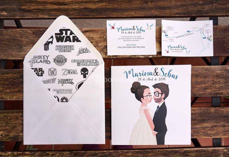 Invitación, sobre y tarjetas