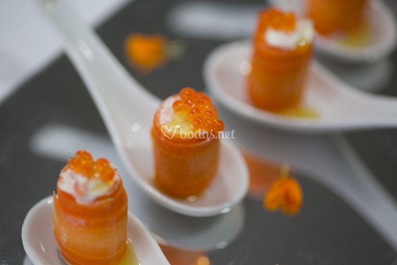 Carrot Cake de salmón y huevas