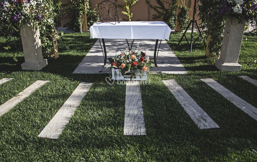 Detalle ceremonia civil jardin