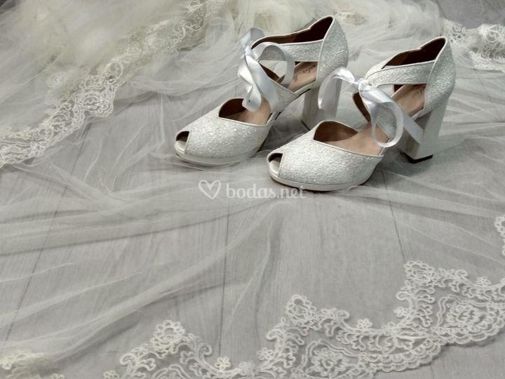 Zapatos glitter blanco