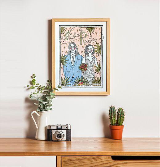 Retrato ilustrado a mano