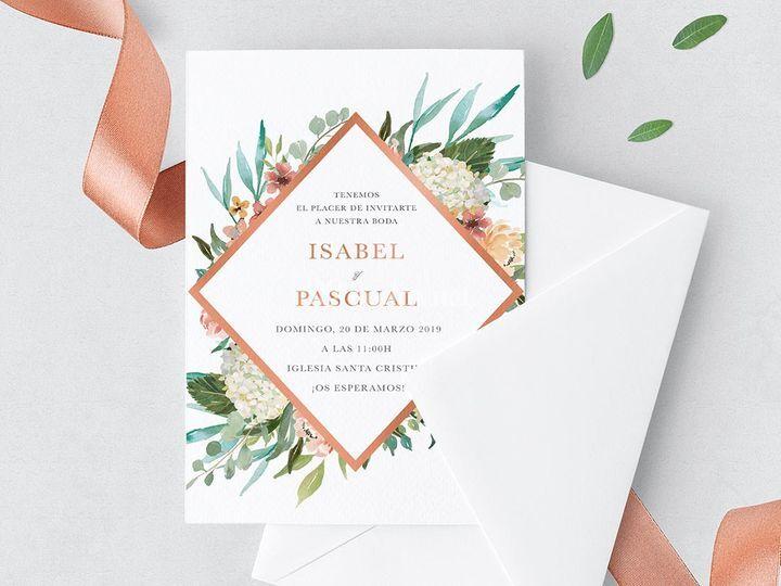 Invitación Floral Rombo