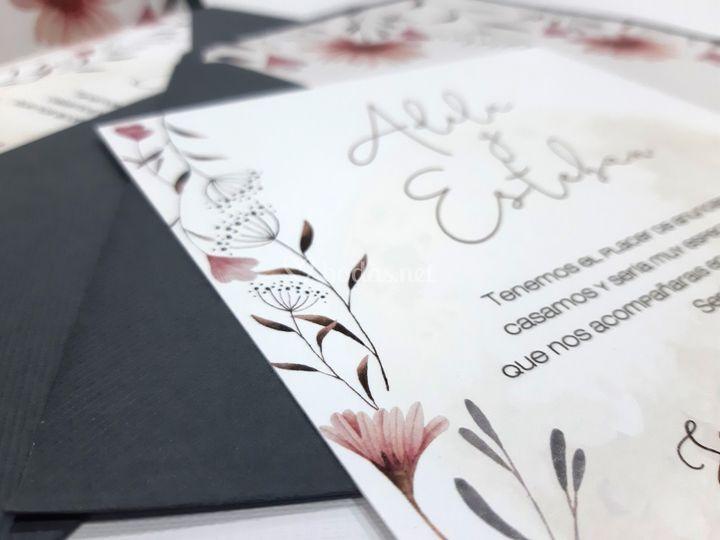 Invitación tarjetón floral