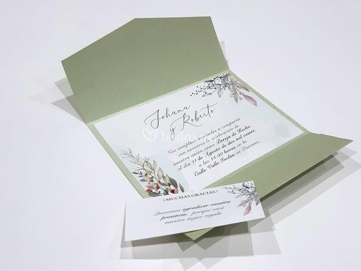 Invitación carpetilla verde
