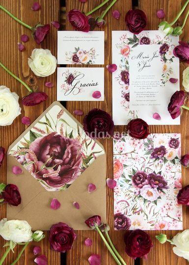 Invitación de boda Bordeaux