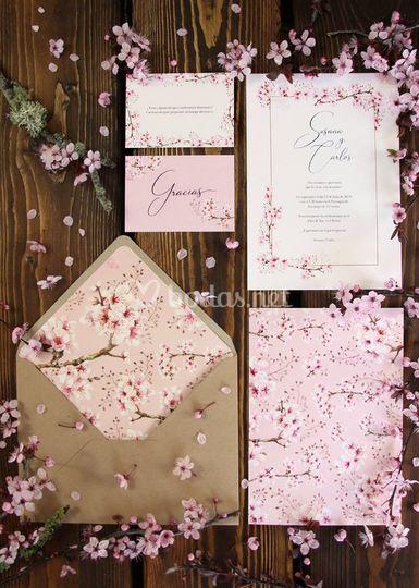 Invitación de boda primavera