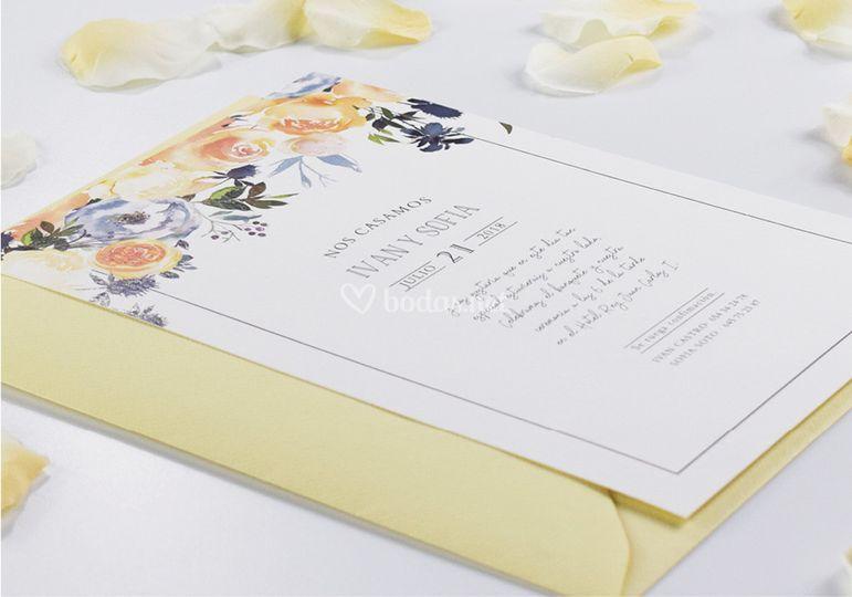 Invitación floral caligráfica