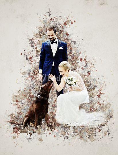 Retrato del día de la boda