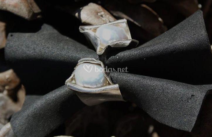 Anillo plata 925 2 perlas