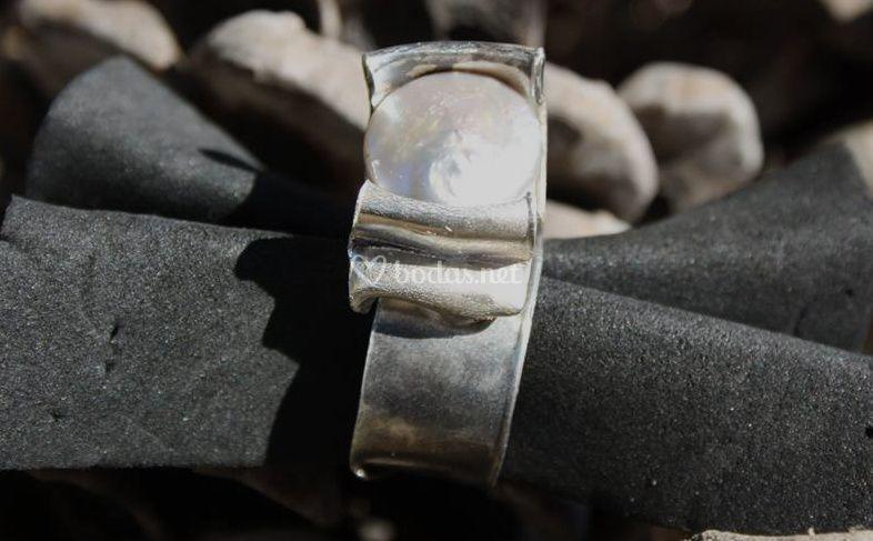 Anillo plata 925 perla