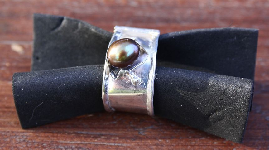 Anillo plata 925 perla negra