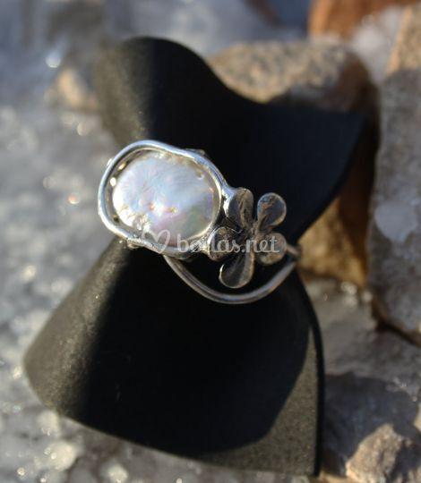 Anillo plata 925 perla blanca