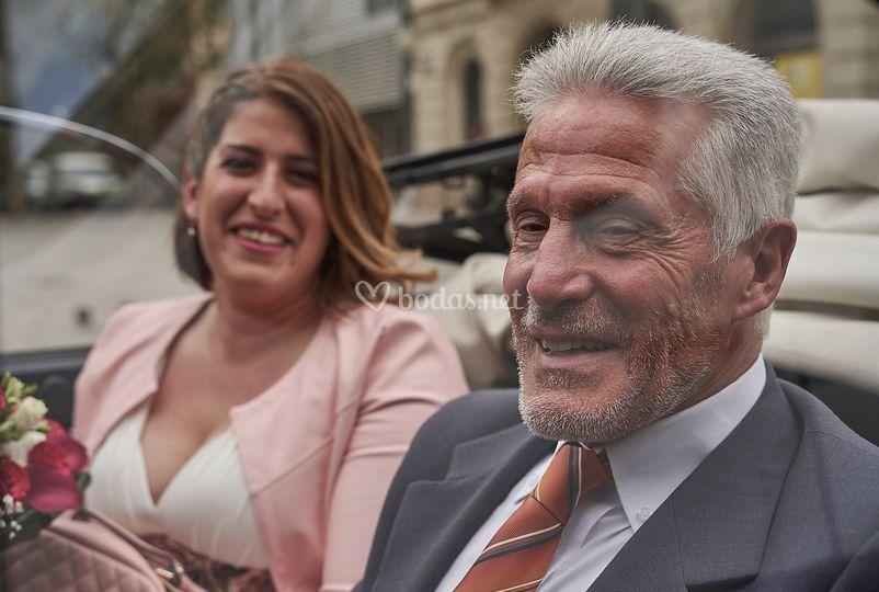 Novia y su padre, emoción