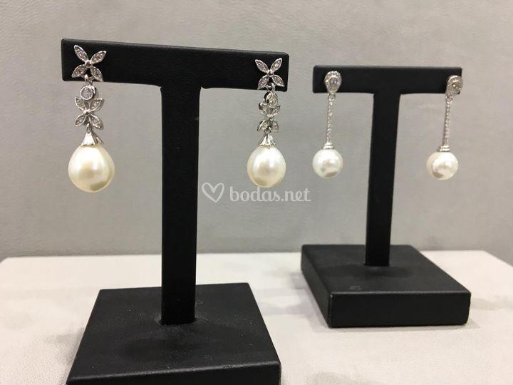 Pendientes plata y perla