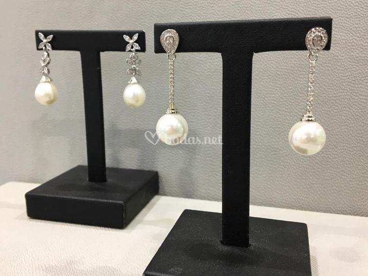 Pendientes novia plata y perla