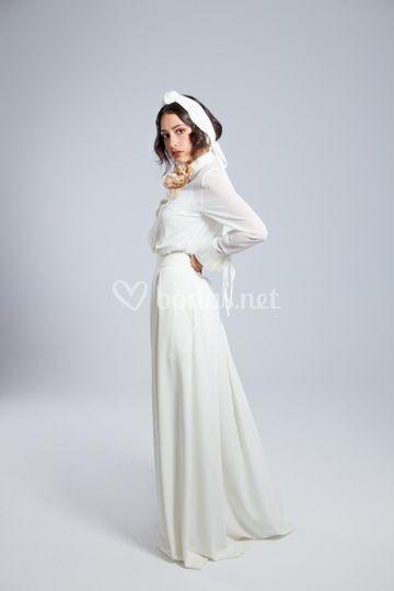 Blusa gasa y falda crep