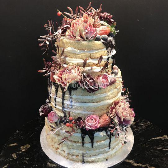 Tarta naked cake floral