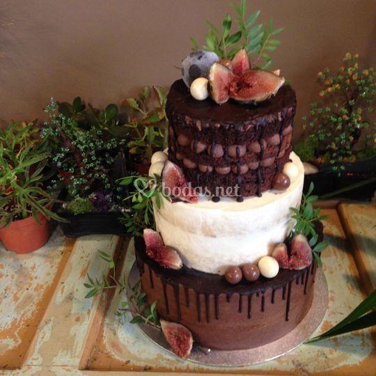 Tarta de chocolate y frutos