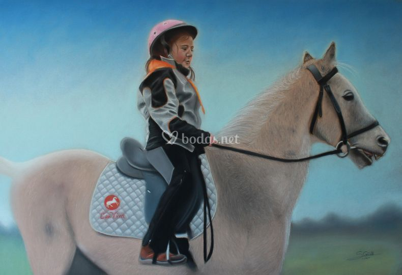 Retrato con caballo a pastel