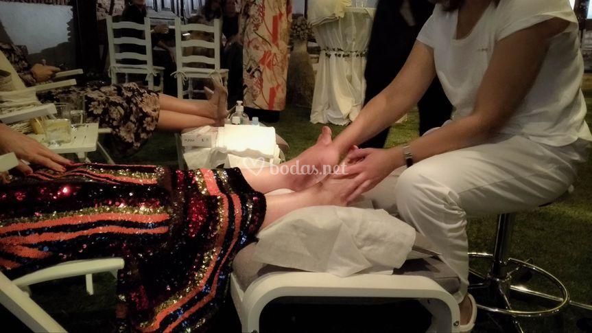 Disfrutando del masaje
