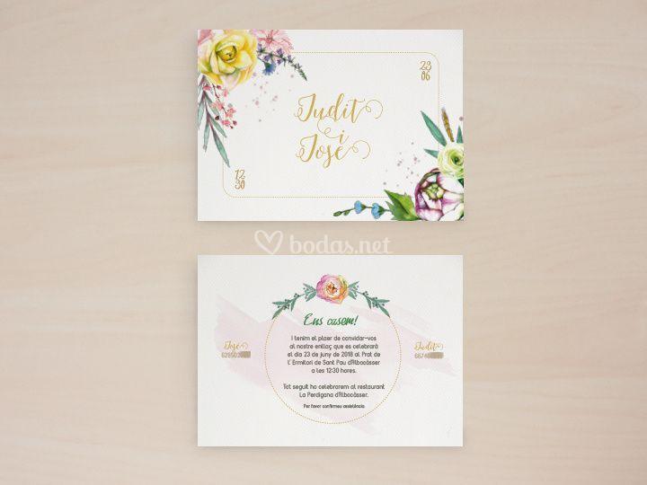 Diseño invitación Floral