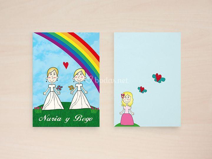 Diseño invitación dibujos hija
