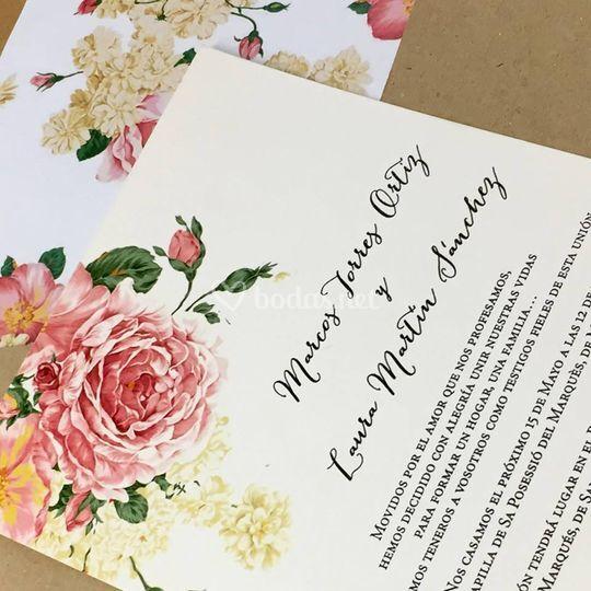 Invitación Floral Vintage