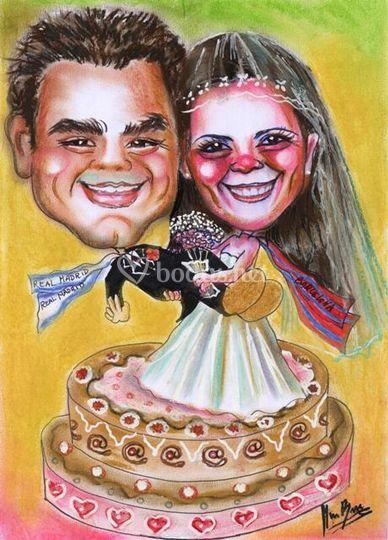 Caricatura  conjunta para invitación boda