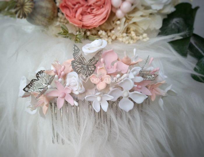 Tocado porcelana y mariposas
