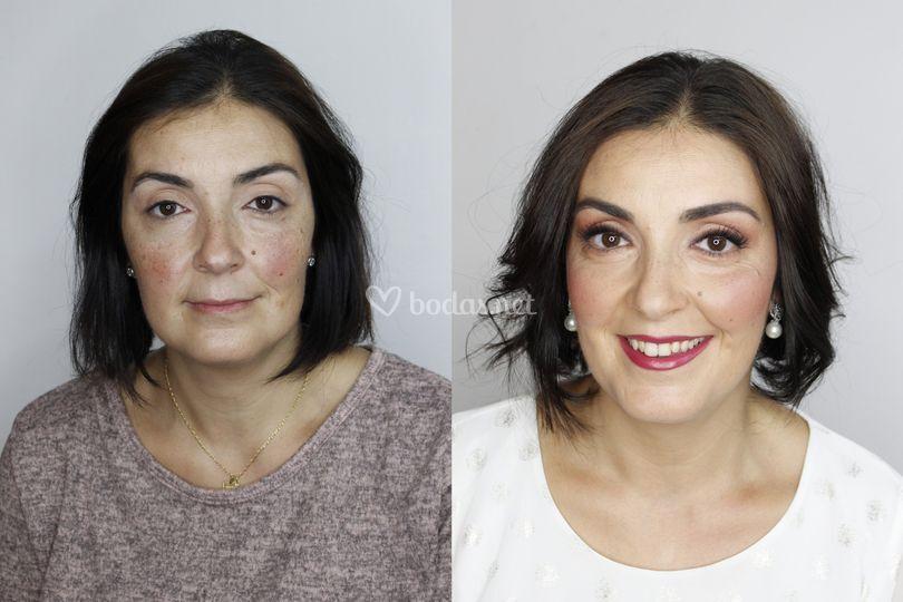 Antes y después. Maquillaje realce