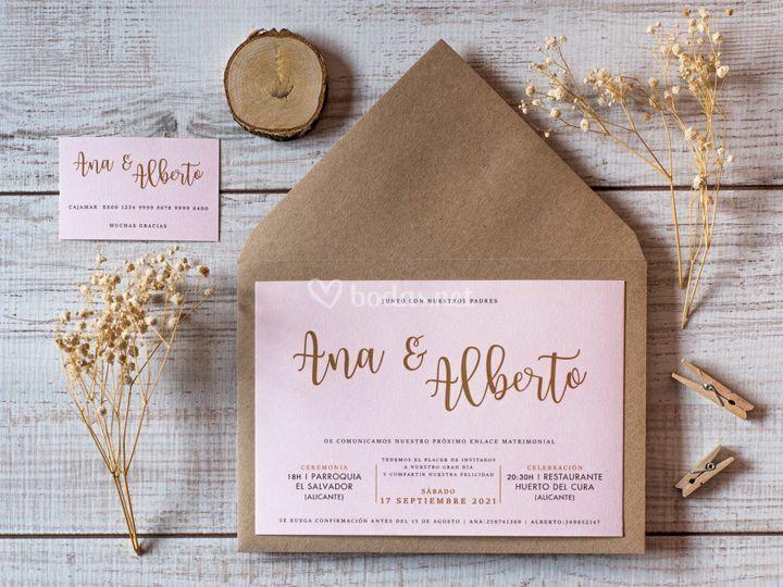 Invitación de boda Letras