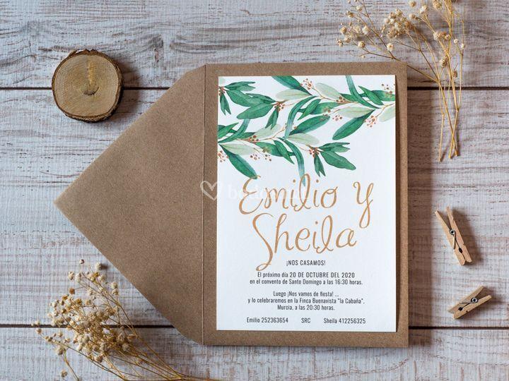 Invitación de boda hojas verde