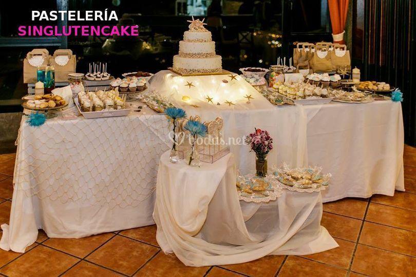 Tarta y mesa temática el mar