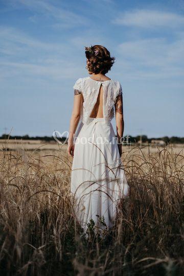 Vestido de novia boho espalda